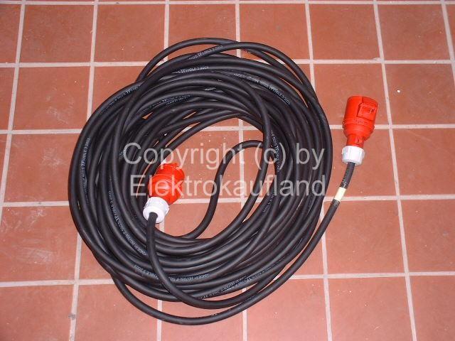 CEE-Starkstrom Verlängerungskabel H07RN-F 5x4mm² 25A/32A 60m mit Phasenwenderstecker