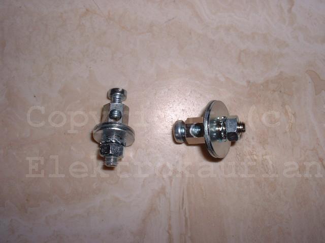 Erdungsklemme für Badewannen/Duschwannen, Messing vernickelt 2x16mm² M5